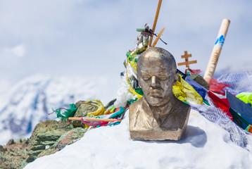 Leinin head statue at the top of Lenin Peak