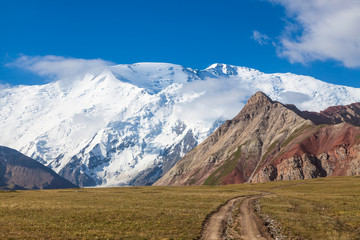 Leinin peak, view from Base camp 1, Pamir mountains, Kyrgyzstan