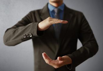 businessmen open hand