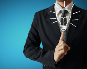 man holding light bulb