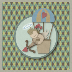 Cupid shoot bow in hot air balloon retro background, recycled pa