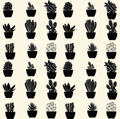 seamless cactus pattern - Illustration