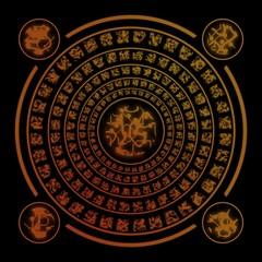 Brown runes on black background