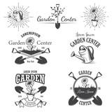 Set of vintage garden center emblems.