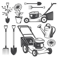 Set of vintage garden designed elements