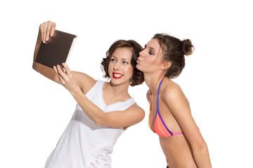 models, emotion, making selfie, tablet pc, happy, surprised