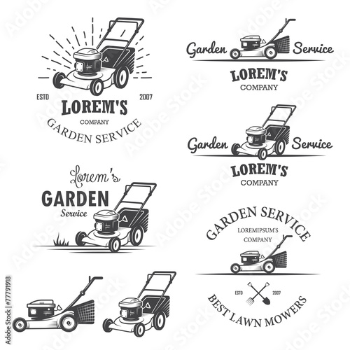 Set of vintage garden service emblems. - 77791918