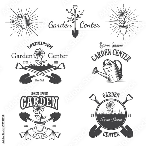Set of vintage garden center emblems. - 77791937