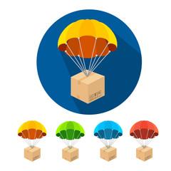 Vector flat parachutes icons set