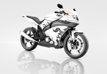 Motorcycle Motorbike Riding Rider Contemporary White Concept