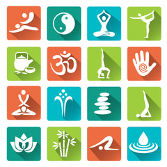 Massage Spa yoga icons with long shadow.