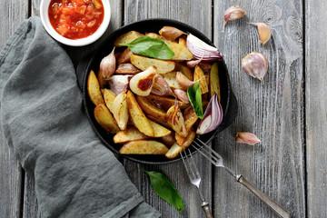 Baked Potatoes with basil and garlic