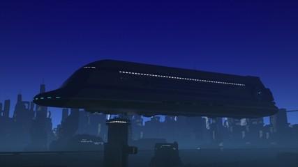 Space Passenger Liner Taking Off