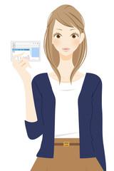免許証を見せる女性 笑顔