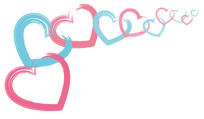 pink and blue brush hearts love  frame compose isolate