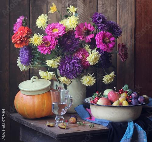 большой натюрморт с осенними цветами и плодами