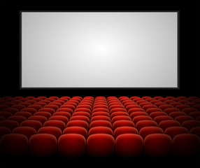 Vector cinema auditorium with blank screen
