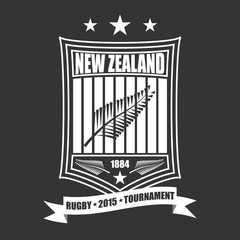 Rugby tournament emblem in the New Zealand, sport logo