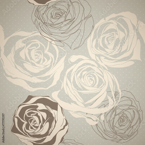 Vintage floral pattern with hand drawn roses © ka_lou