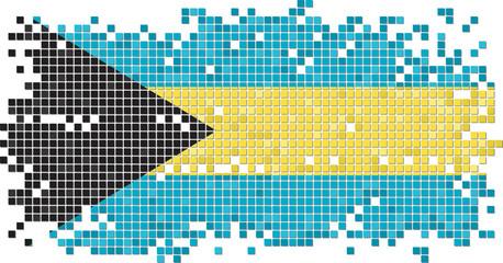 Bahamian grunge tile flag. Vector illustration