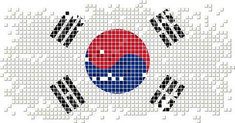South Korea grunge tile flag. Vector illustration