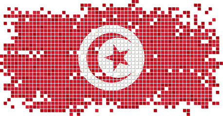 Tunisian grunge tile flag. Vector illustration
