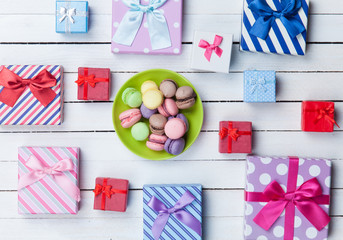 Gift boxes and french macaron