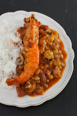 beans with seafood and boiled rice