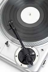 close up shot of needle of turntable