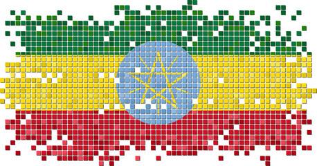 Ethiopian grunge tile flag. Vector illustration