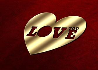 Love You - Herz Gold - Leder