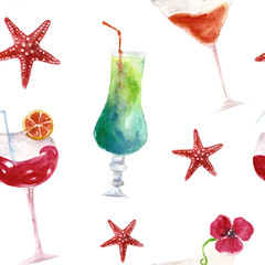 Seamless pattern with summer cocktails. Watercolor illustration