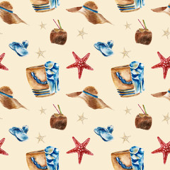 Seamless pattern with beach bag, shoes and a coconut.