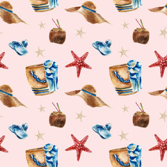 Seamless pattern with beach bag, sunglasses, coconut.