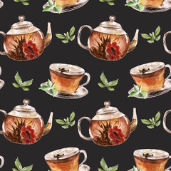 Seamless pattern with cup of tea and teapot.