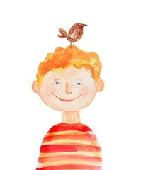 Boy with bird. Watercolor illustration Hand drawn