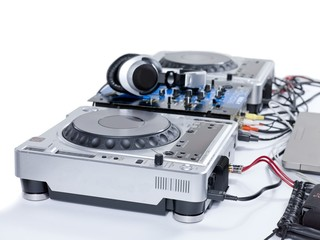 turntable player isolated on white