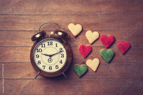 canvas print picture Retro alarm clock and cookies