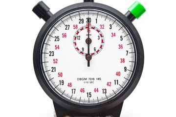 view of a stopwatch over plain white background