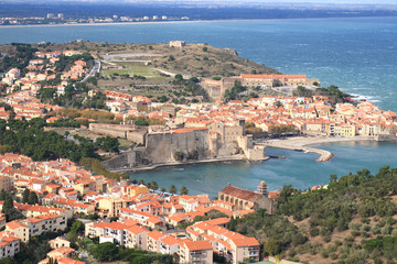 bird view Collioure, South of France