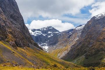 Majestic snow capped Darran Mountains, Fiordland, New Zealand