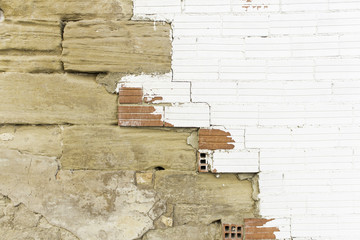 Broken white bricks