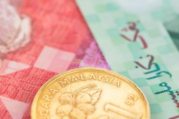 Malaysian money ringgit coins close-up