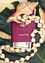 setting summer vacation with shells and passport