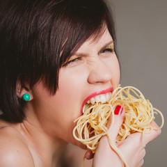 woman with spaghetti