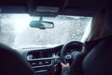 snowing driving