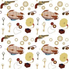 Seamless steampunk retro pattern. Art illustration