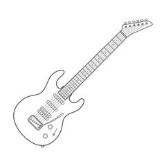 vector dark outline design white electric guitar illustration
