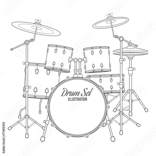 vector outline drum set on white background - 77802955