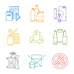 vector infographic various waste icons set